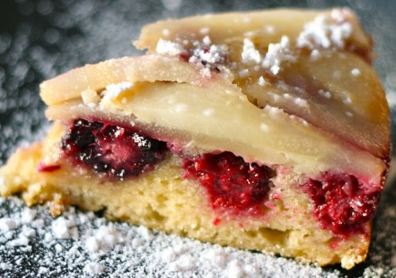 Blackberry Pear Upside-Down Cake