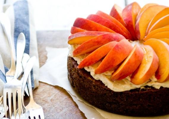 Peach Ginger Pecan Cake