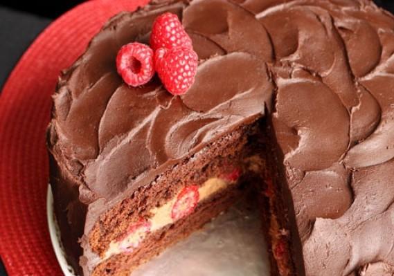 Raspberry Devils Food Cake