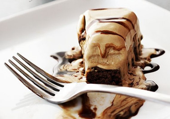 Brownie Ice Cream Cake with Nutella Sauce