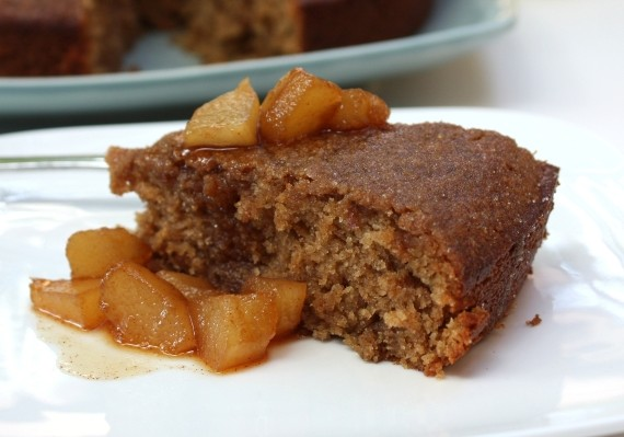 Cinnamon Cake with Warm Pear Compote