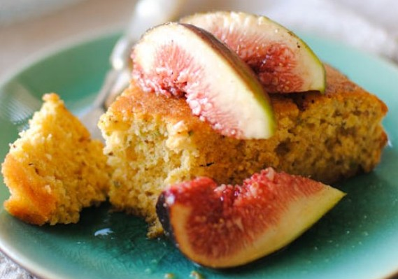 Pistacho Polenta Cake with Mandarin Syrup & Figs
