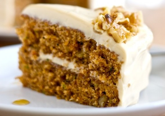 Zucchini Carrot Cake with Maple-Brown Sugar Frosting