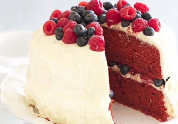 Red Velvet Cake with Raspberries and Blueberries