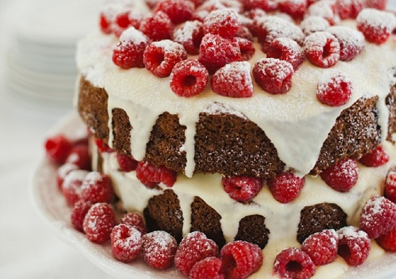 Hummingbird Cake with Berries