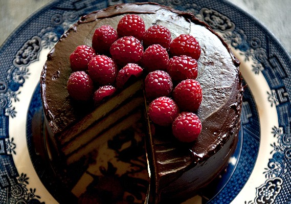 Coconut Chocolate Cake with Raspberries