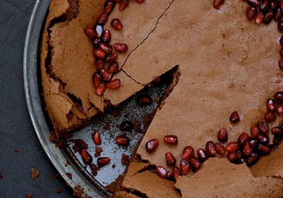 Flourless Chocolate Pomegranate Cake