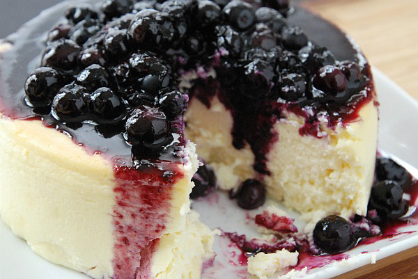 Creme Fraiche Cheesecake with Lemon Blueberry Compote