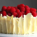 Lemon Raspberry Sponge Cake with White Chocolate Shards