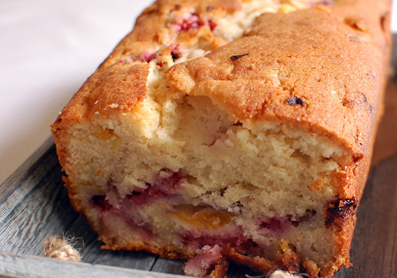Peach Coffee Cake with Raspberries
