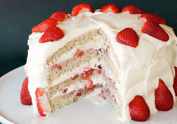 Unusual Cake Recipes - Strawberry Poppy Seed Cake Recipe