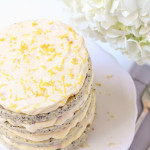 Poppy Seed Lemon Cake with Strawberry Passion Fruit Cream